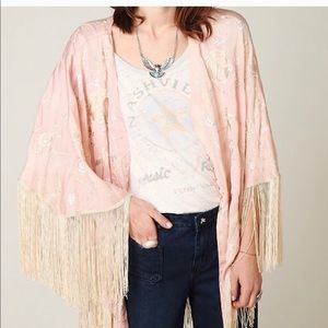Free people fringe embroidered kimono cape